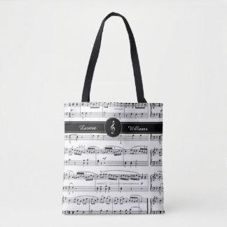 Bolsa Tote nome em notas musicais preto e branco