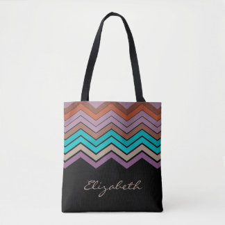 Bolsa Tote Nome Monogrammed & vigas em cores tropicais