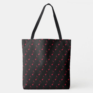 Bolsa Tote notas musicais vermelhas all_over_printed no preto