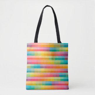 Bolsa Tote O arco-íris abstrato colore o fundo da grade