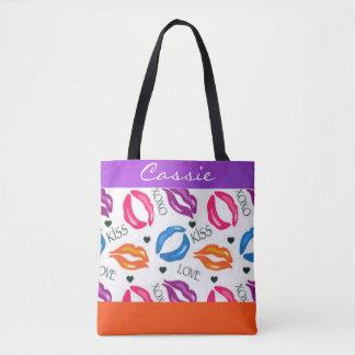 Bolsa Tote O batom colorido imprime abraços e beijos do amor