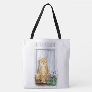 Bolsa Tote O gato da porta da lavanda