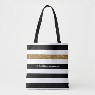 Bolsa Tote O preto moderno listra o Glitz e o nome do ouro do