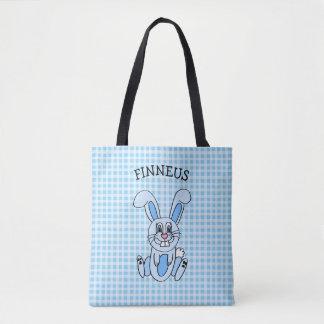 Bolsa Tote O saco azul de menino azul personalizado do