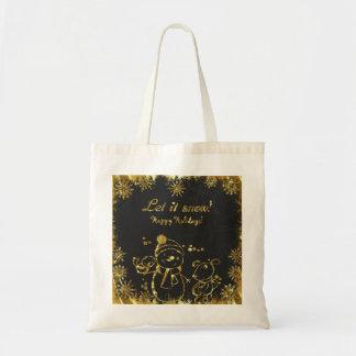 Bolsa Tote Ouro e Feliz Natal preto da ilustração