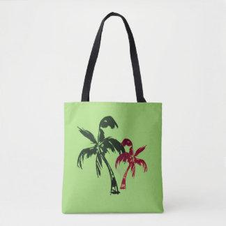 Bolsa Tote Palmas de coco tropicais no verde de acalmação