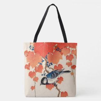 Bolsa Tote Pássaro de Jay do japonês do vintage e vinha do