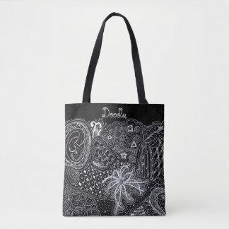 Bolsa Tote Personalize: Tinta branca na arte aleatória preta
