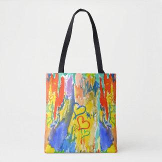 Bolsa Tote Pintura aleatória colorida dos corações abstratos