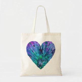 Bolsa Tote Pintura azul roxa do coração do amor da arte