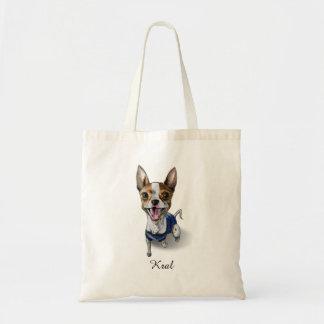 Bolsa Tote Pintura customizável da aguarela do cão de Terrier