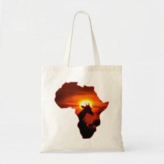 Bolsa Tote Por do sol africano com silhueta do girafa