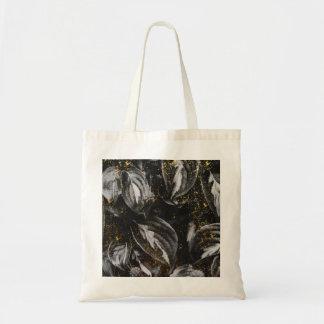 Bolsa Tote Preto escuro e natureza botânica das folhas do