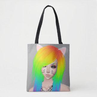 Bolsa Tote Rainha da cena do arco-íris por todo o lado no