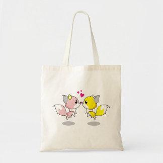 Bolsa Tote Raposas bonitos em desenhos animados do amor