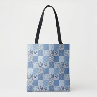 Bolsa Tote Retalhos florais azuis toda sobre - imprima a
