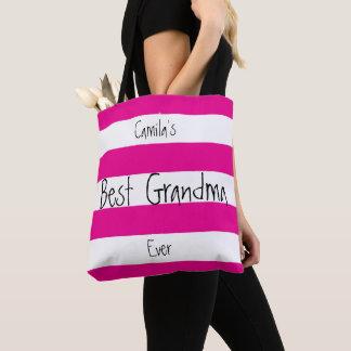 Bolsa Tote Rosa e branco personalizados do dia das mães