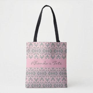 Bolsa Tote Rosa e cinzas personalizados