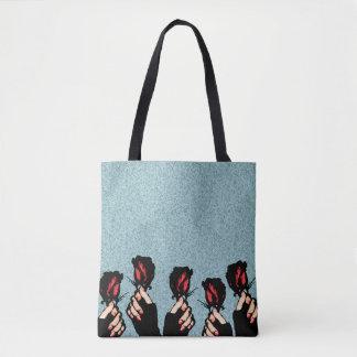 Bolsa Tote Rosas e sacola das mãos