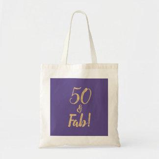 """Bolsa Tote Roxo elegante """"50 & fabuloso!"""" 50th Festa de"""