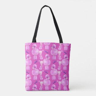 Bolsa Tote Saco animal cor-de-rosa da arte do rosa do teste