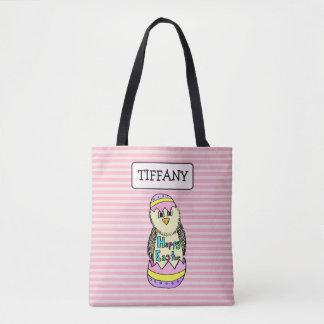 Bolsa Tote Saco cor-de-rosa personalizado do coelhinho da