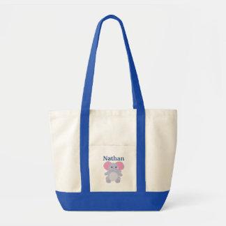 Bolsa Tote Saco da fralda do bebé azul do elefante