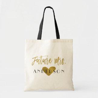 Bolsa Tote Saco futuro da festa de casamento da folha de ouro