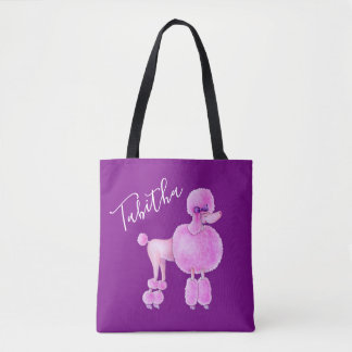 Bolsa Tote Saco personalizado do cão de caniche arte