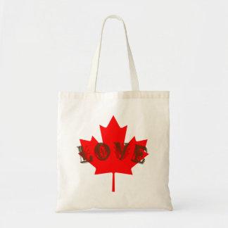 Bolsa Tote Saco vermelho da folha de bordo do dia de Canadá