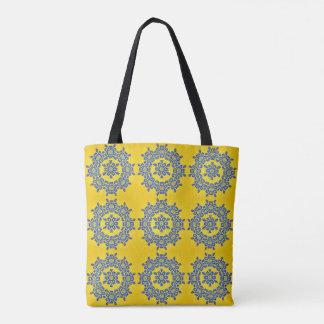 Bolsa Tote Sacola amarela & azul retro do azulejo da flor