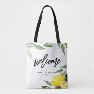 Bolsa Tote Sacola boémia do casamento do limão bem-vindo da