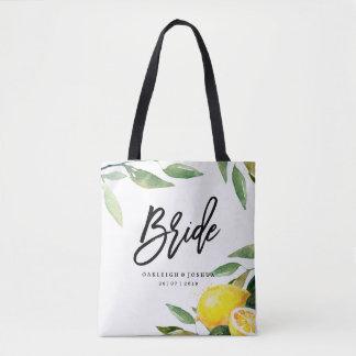 Bolsa Tote Sacola boémia do casamento do limão da aguarela da