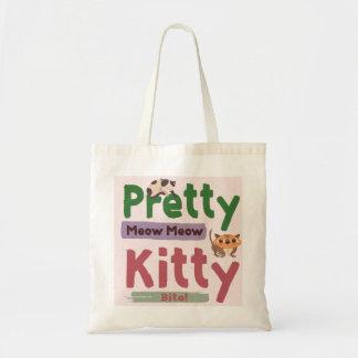 Bolsa Tote Sacola bonito do orçamento do gatinho