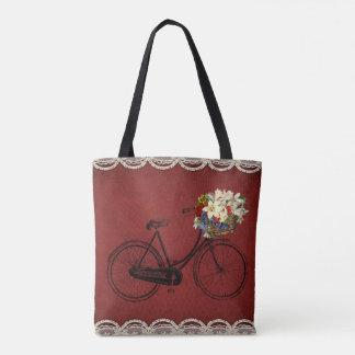 Bolsa Tote sacola bonito do vermelho da bicicleta da flor