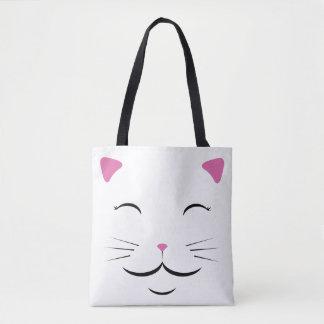 Bolsa Tote Sacola branca do gato