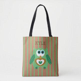 Bolsa Tote Sacola conhecida personalizada de Brown coruja