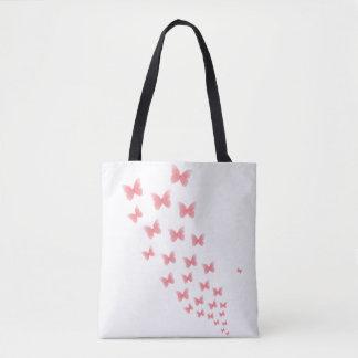 Bolsa Tote Sacola cor-de-rosa das borboletas