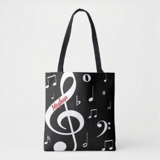 Bolsa Tote Sacola das notas musicais