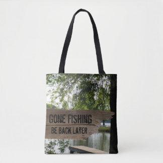 Bolsa Tote Sacola de madeira de pesca ida engraçada do lago
