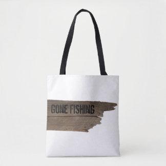 Bolsa Tote Sacola de madeira de pesca ida engraçada do sinal