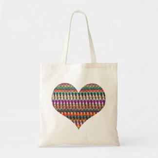 Bolsa Tote Sacola do Crochet - saco do Crochet do coração