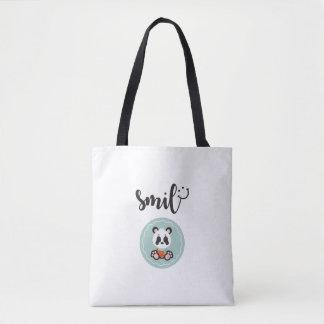 Bolsa Tote Sacola do meio da panda do sorriso