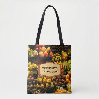 Bolsa Tote Sacola do mercado de fruta no marrom do verde