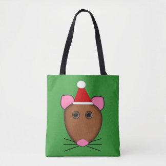 Bolsa Tote Sacola do rato do Feliz Natal