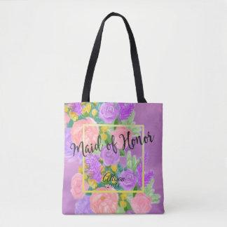 Bolsa Tote Sacola floral roxa bonito da madrinha de casamento