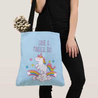Bolsa Tote Sacola mágica do unicórnio do arco-íris do dia