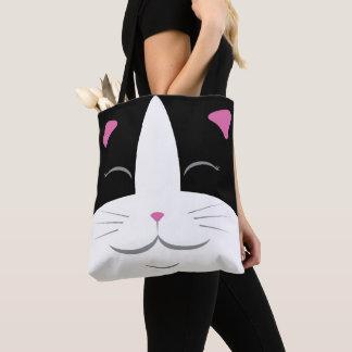 Bolsa Tote Sacola preta & branca do gato