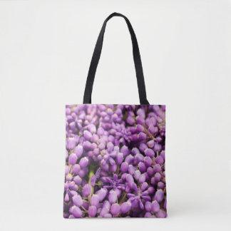 Bolsa Tote Sacola roxa da flor do primavera do jacinto de uva