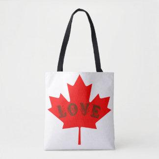 Bolsa Tote Sacola vermelha da folha de bordo do dia de Canadá